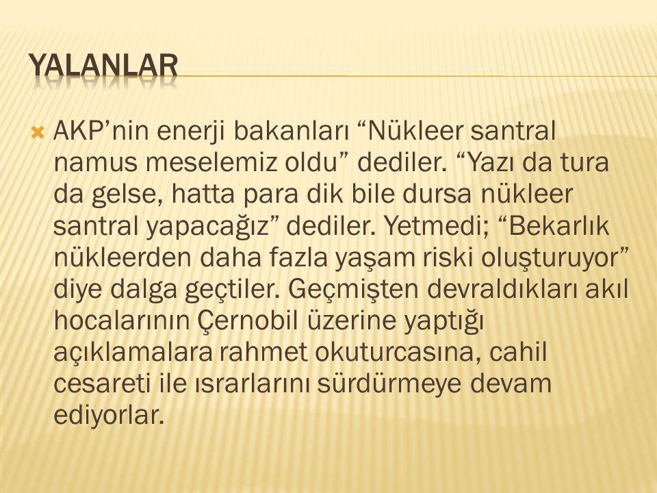 """ AKP'nin enerji bakanları """"Nükleer santral namus meselemiz oldu"""" dediler. """"Yazı da tura da gelse, hatta para dik bile dursa nükleer santral yapacağız"""