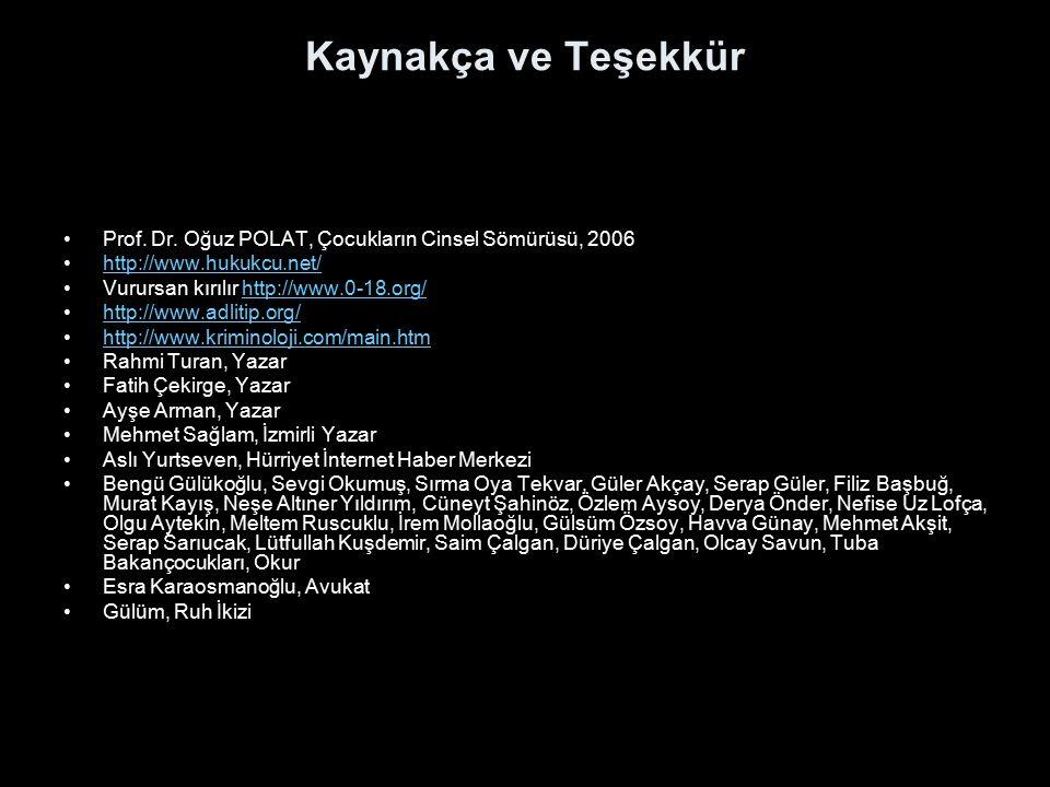 Kaynakça ve Teşekkür Prof. Dr. Oğuz POLAT, Çocukların Cinsel Sömürüsü, 2006 http://www.hukukcu.net/ Vurursan kırılır http://www.0-18.org/http://www.0-