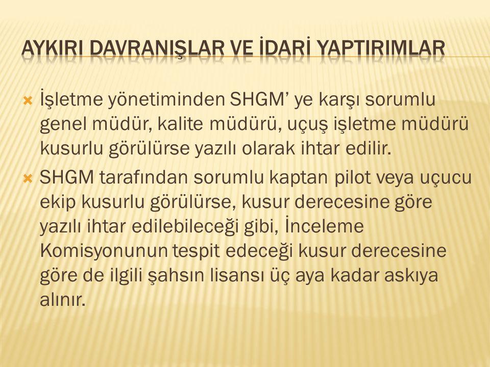  İşletme yönetiminden SHGM' ye karşı sorumlu genel müdür, kalite müdürü, uçuş işletme müdürü kusurlu görülürse yazılı olarak ihtar edilir.  SHGM tar