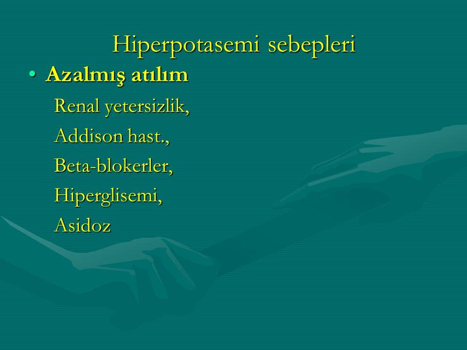 Azalmış atılımAzalmış atılım Renal yetersizlik, Renal yetersizlik, Addison hast., Addison hast., Beta-blokerler, Beta-blokerler, Hiperglisemi, Hipergl