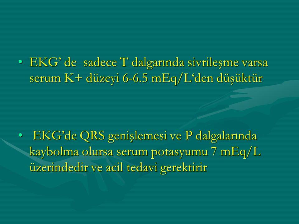 EKG' de sadece T dalgarında sivrileşme varsa serum K+ düzeyi 6-6.5 mEq/L'den düşüktürEKG' de sadece T dalgarında sivrileşme varsa serum K+ düzeyi 6-6.