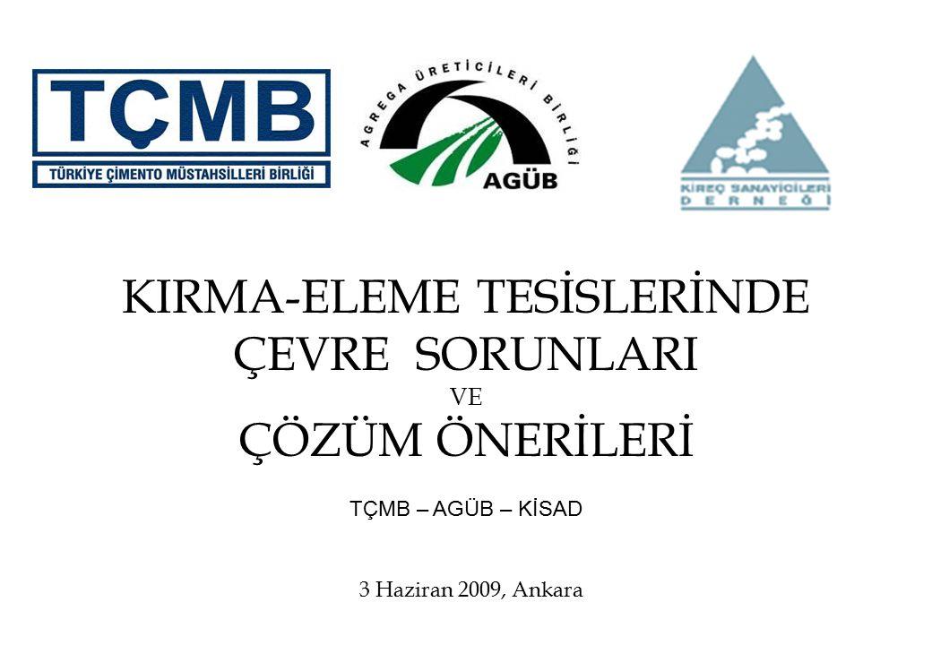 KIRMA-ELEME TESİSLERİNDE ÇEVRE SORUNLARI VE ÇÖZÜM ÖNERİLERİ TÇMB – AGÜB – KİSAD 3 Haziran 2009, Ankara
