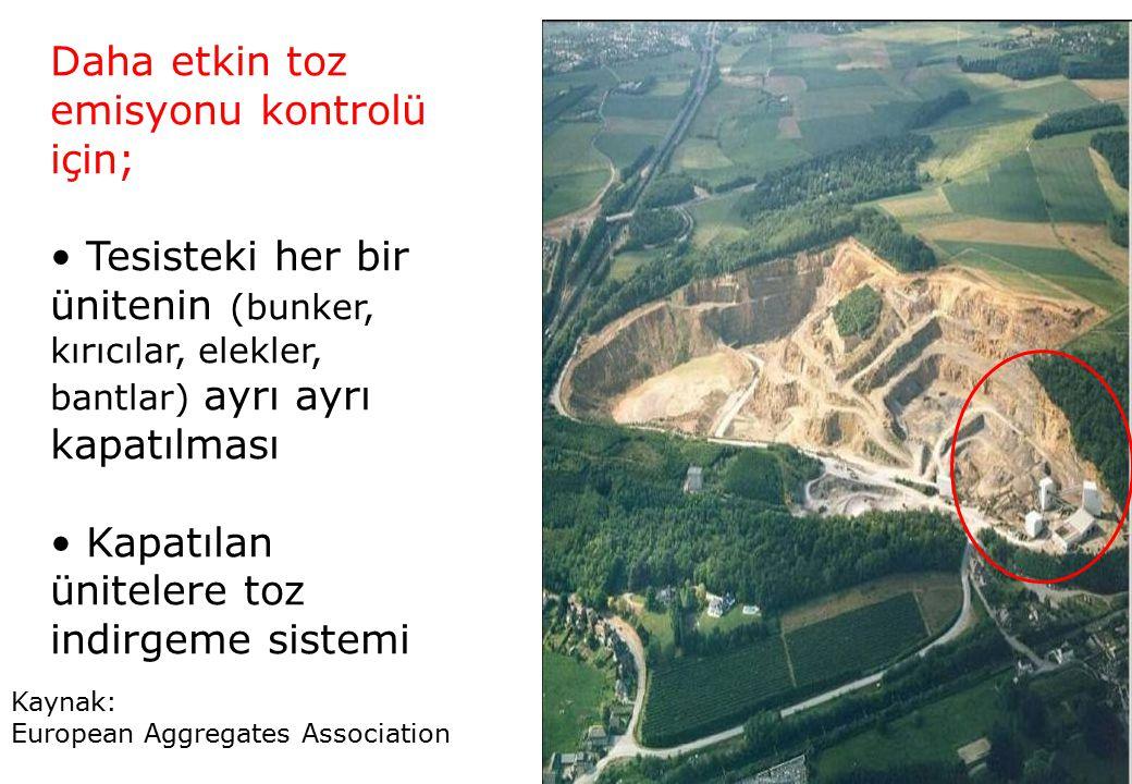 Kaynak: European Aggregates Association Daha etkin toz emisyonu kontrolü için; Tesisteki her bir ünitenin (bunker, kırıcılar, elekler, bantlar) ayrı a