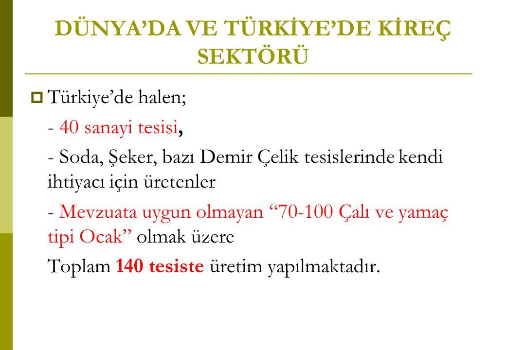 DÜNYA'DA VE TÜRKİYE'DE KİREÇ SEKTÖRÜ  Türkiye'de halen; - 40 sanayi tesisi, - Soda, Şeker, bazı Demir Çelik tesislerinde kendi ihtiyacı için üretenle