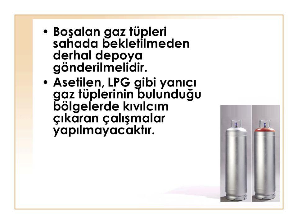 Boşalan gaz tüpleri sahada bekletilmeden derhal depoya gönderilmelidir. Asetilen, LPG gibi yanıcı gaz tüplerinin bulunduğu bölgelerde kıvılcım çıkaran