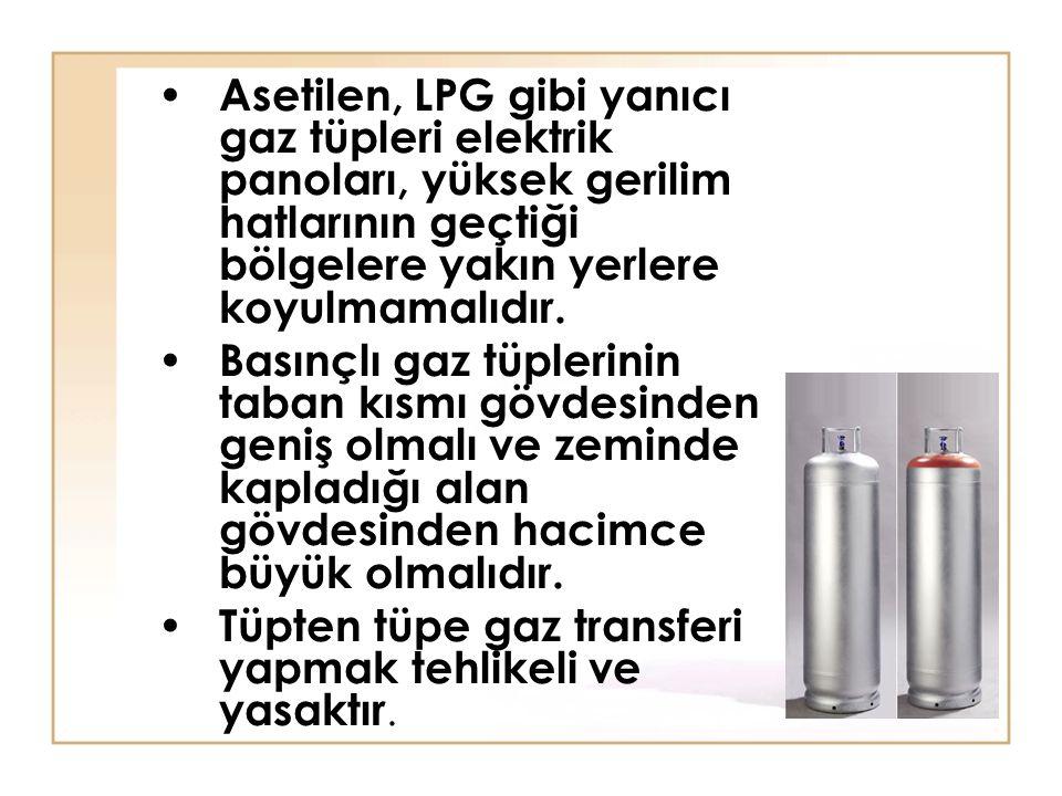 Asetilen, LPG gibi yanıcı gaz tüpleri elektrik panoları, yüksek gerilim hatlarının geçtiği bölgelere yakın yerlere koyulmamalıdır. Basınçlı gaz tüpler