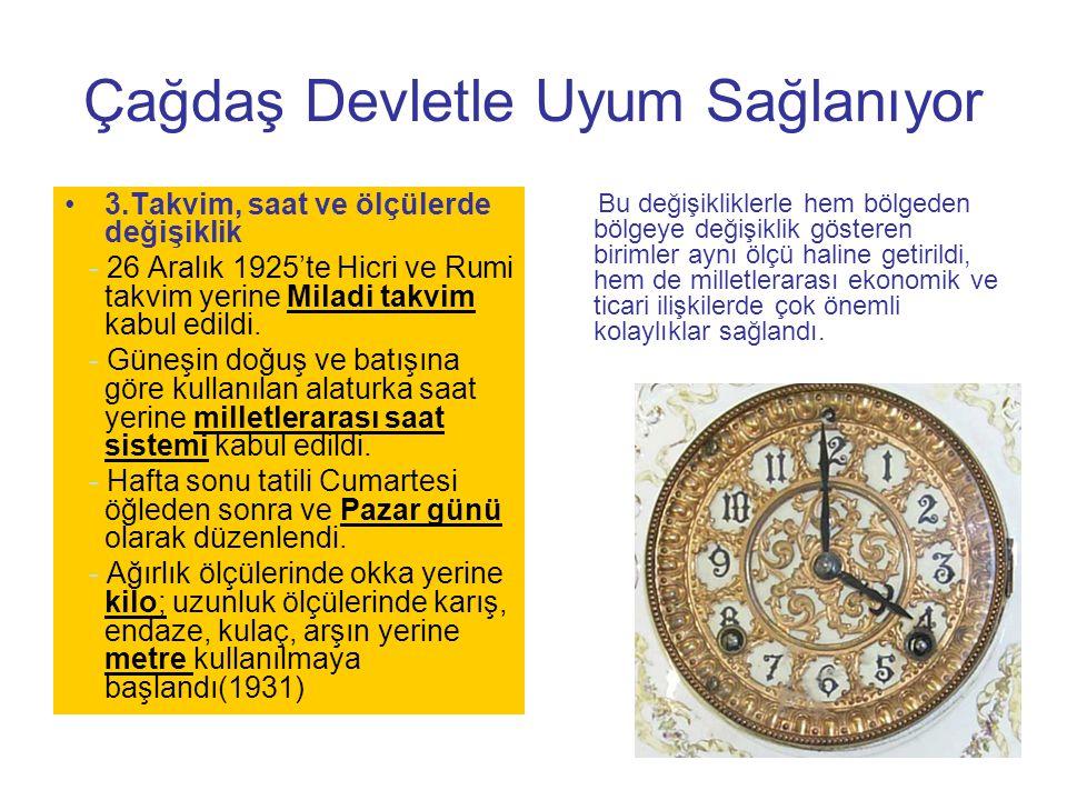 Çağdaş Devletle Uyum Sağlanıyor 3.Takvim, saat ve ölçülerde değişiklik - 26 Aralık 1925'te Hicri ve Rumi takvim yerine Miladi takvim kabul edildi. - G