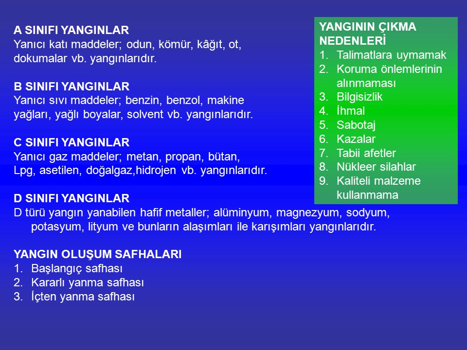 4.Köpük (FOAM): FOAM kimyasal bileşiktir.
