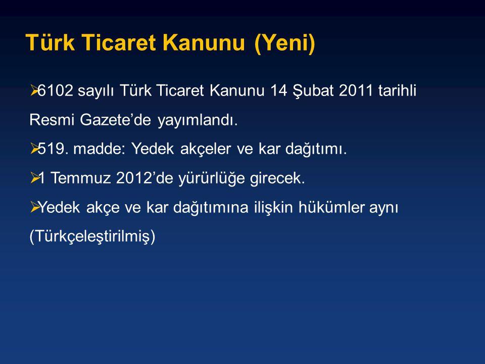 Türk Ticaret Kanunu (Yeni)  6102 sayılı Türk Ticaret Kanunu 14 Şubat 2011 tarihli Resmi Gazete'de yayımlandı.