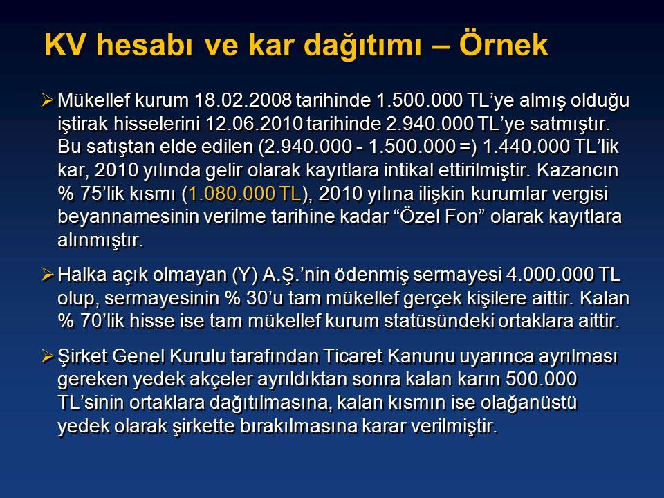  Mükellef kurum 18.02.2008 tarihinde 1.500.000 TL'ye almış olduğu iştirak hisselerini 12.06.2010 tarihinde 2.940.000 TL'ye satmıştır.