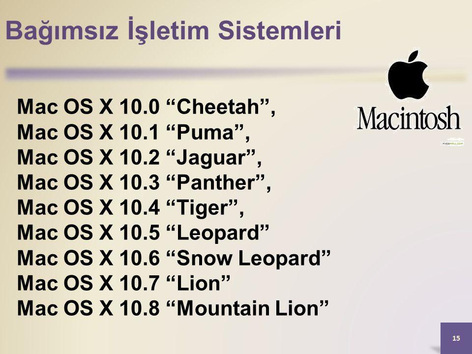 Bağımsız İşletim Sistemleri 15 Mac OS X 10.0 Cheetah , Mac OS X 10.1 Puma , Mac OS X 10.2 Jaguar , Mac OS X 10.3 Panther , Mac OS X 10.4 Tiger , Mac OS X 10.5 Leopard Mac OS X 10.6 Snow Leopard Mac OS X 10.7 Lion Mac OS X 10.8 Mountain Lion