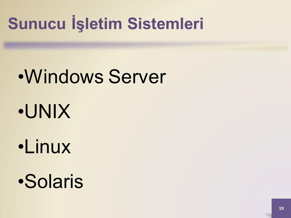 Sunucu İşletim Sistemleri 19 Windows Server UNIX Linux Solaris