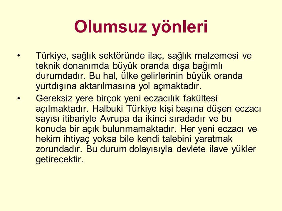 Olumsuz yönleri Türkiye, sağlık sektöründe ilaç, sağlık malzemesi ve teknik donanımda büyük oranda dışa bağımlı durumdadır. Bu hal, ülke gelirlerinin