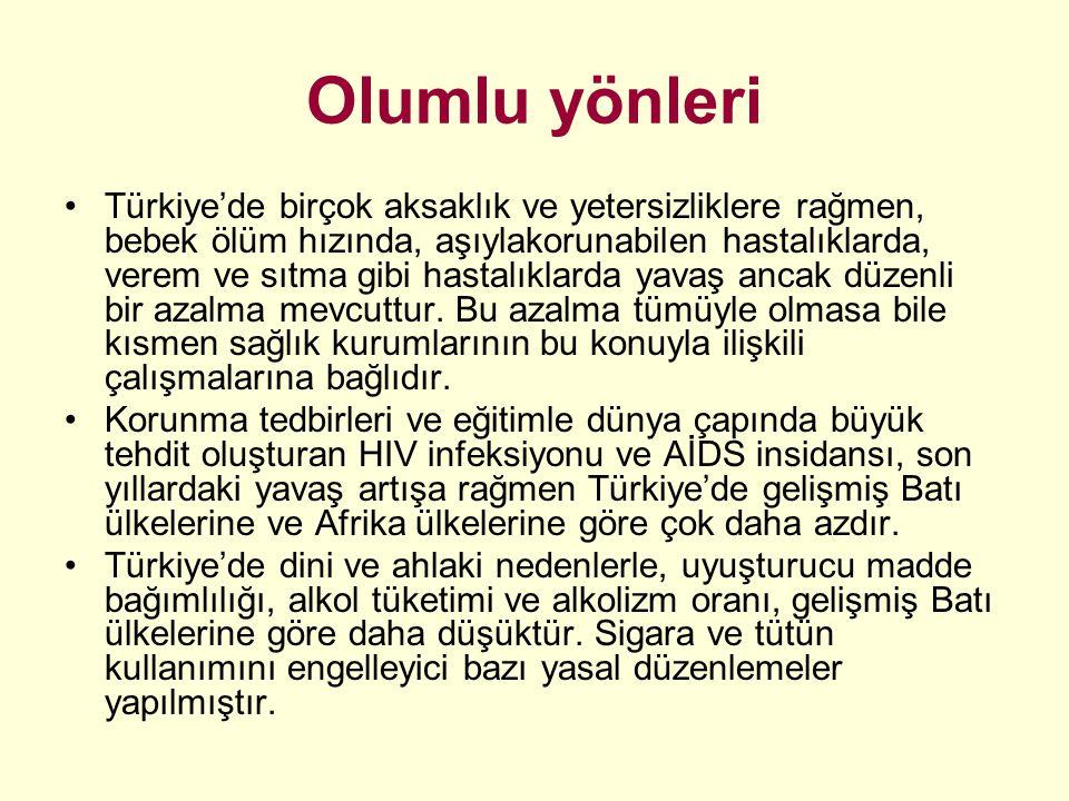 Olumlu yönleri Türkiye'de birçok aksaklık ve yetersizliklere rağmen, bebek ölüm hızında, aşıylakorunabilen hastalıklarda, verem ve sıtma gibi hastalık