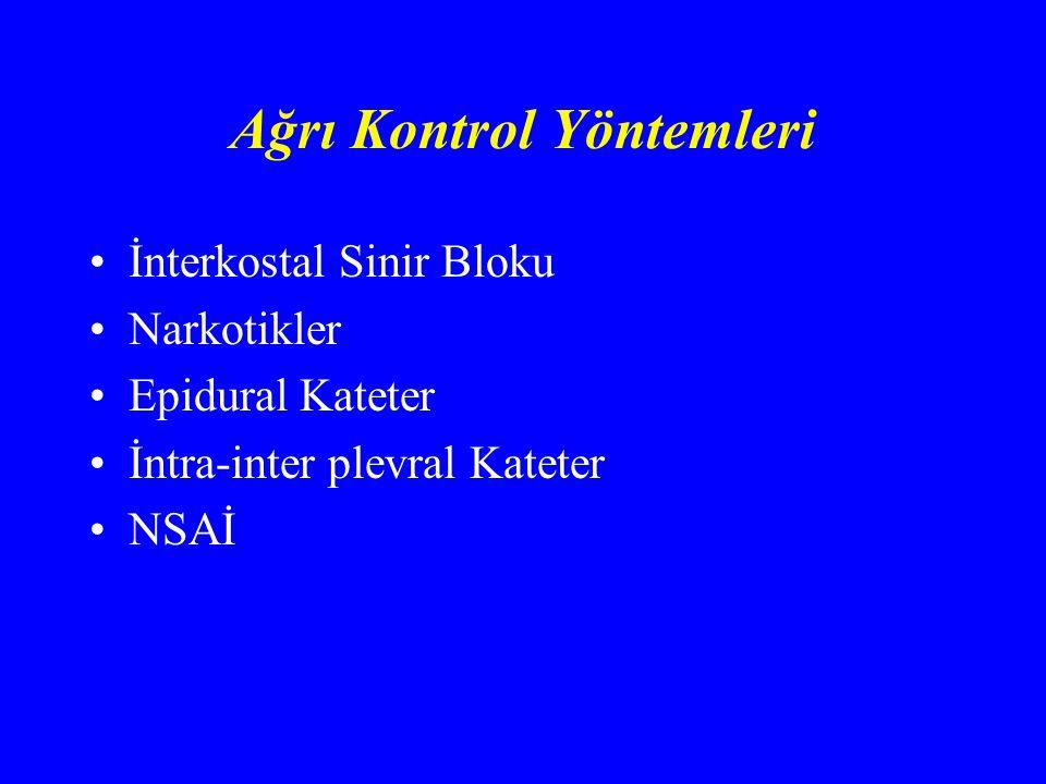 Ağrı Kontrol Yöntemleri İnterkostal Sinir Bloku Narkotikler Epidural Kateter İntra-inter plevral Kateter NSAİ