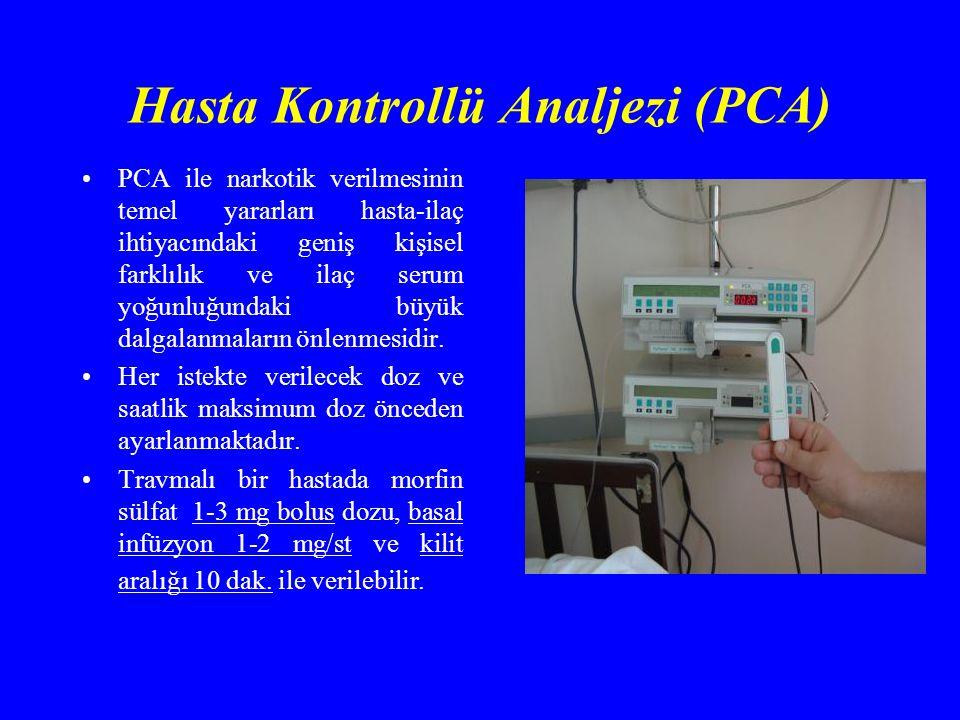 Hasta Kontrollü Analjezi (PCA) PCA ile narkotik verilmesinin temel yararları hasta-ilaç ihtiyacındaki geniş kişisel farklılık ve ilaç serum yoğunluğundaki büyük dalgalanmaların önlenmesidir.