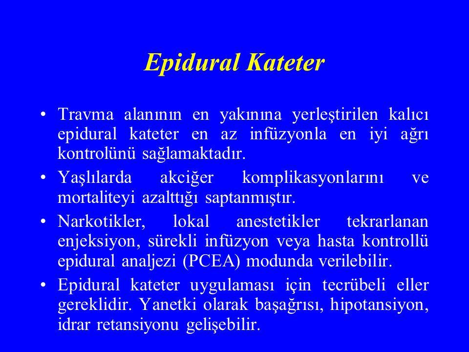 Epidural Kateter Travma alanının en yakınına yerleştirilen kalıcı epidural kateter en az infüzyonla en iyi ağrı kontrolünü sağlamaktadır.