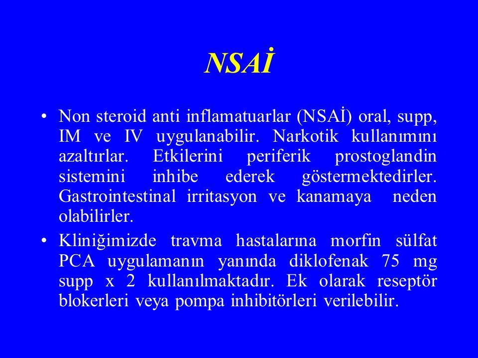 NSAİ Non steroid anti inflamatuarlar (NSAİ) oral, supp, IM ve IV uygulanabilir.