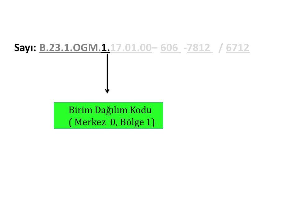 Sayı: B.23.1.OGM.1.17.01.00– 606 -7812 / 6712 Birim Dağılım Kodu ( Merkez 0, Bölge 1)
