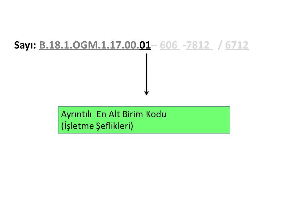 Sayı: B.18.1.OGM.1.17.00.01– 606 -7812 / 6712 Ayrıntılı En Alt Birim Kodu (İşletme Şeflikleri)