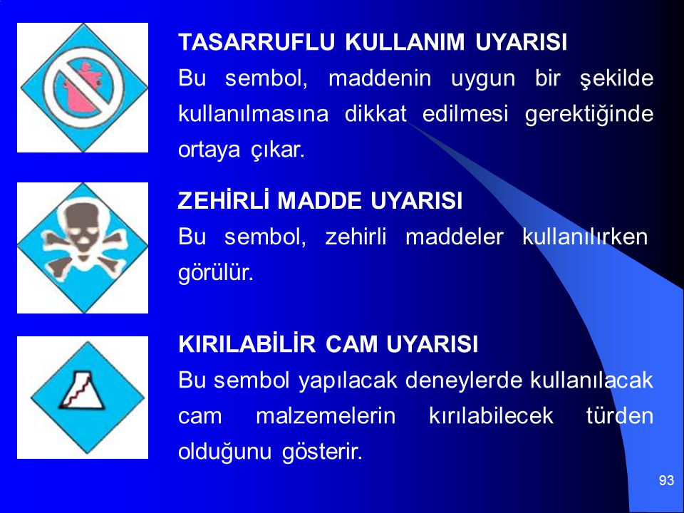 93 TASARRUFLU KULLANIM UYARISI Bu sembol, maddenin uygun bir şekilde kullanılmasına dikkat edilmesi gerektiğinde ortaya çıkar. ZEHİRLİ MADDE UYARISI B