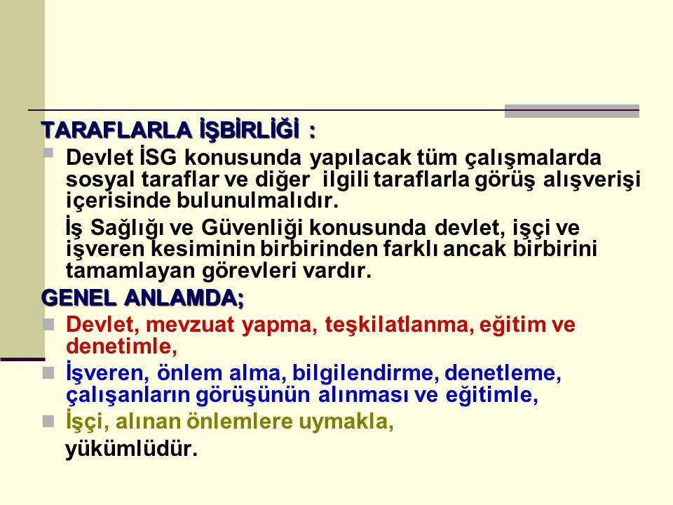  ÇALIŞMA ORTAMINDAKİ BÜTÜN TEHLİKE VE RİSKLERİN ORTADAN KALDIRILMASI KONUSUNDA..