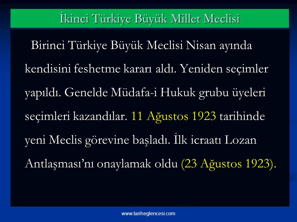 İkinci Türkiye Büyük Millet Meclisi Birinci Türkiye Büyük Meclisi Nisan ayında kendisini feshetme kararı aldı.
