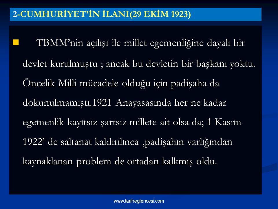 TBMM'nin açılışı ile millet egemenliğine dayalı bir devlet kurulmuştu ; ancak bu devletin bir başkanı yoktu.