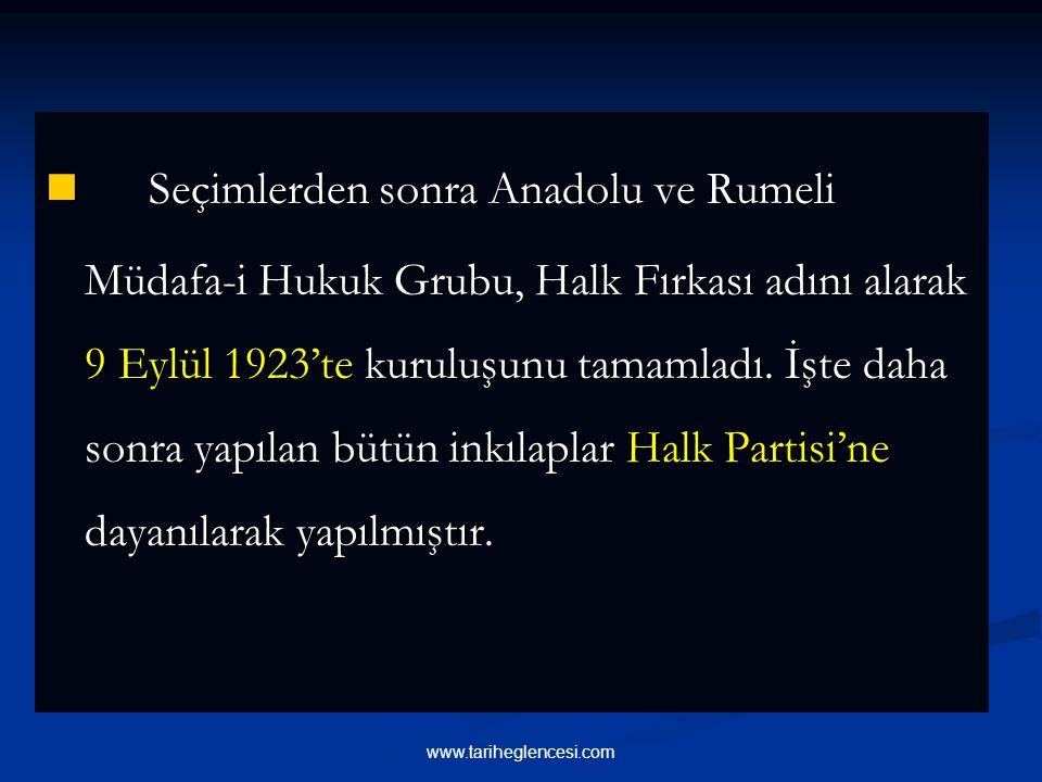 Seçimlerden sonra Anadolu ve Rumeli Müdafa-i Hukuk Grubu, Halk Fırkası adını alarak 9 Eylül 1923'te kuruluşunu tamamladı.