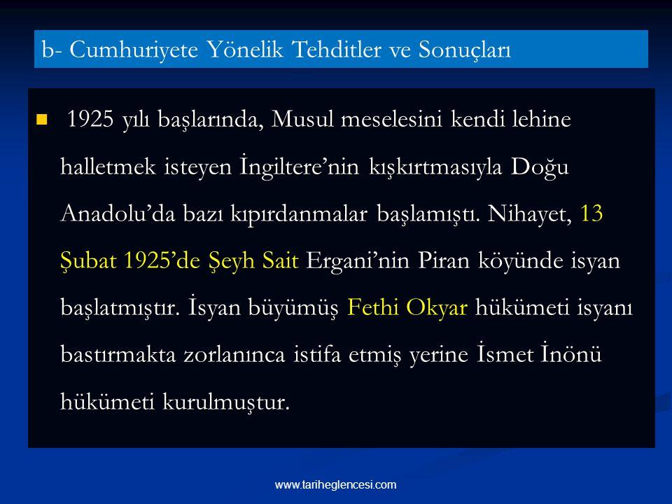 1925 yılı başlarında, Musul meselesini kendi lehine halletmek isteyen İngiltere'nin kışkırtmasıyla Doğu Anadolu'da bazı kıpırdanmalar başlamıştı.