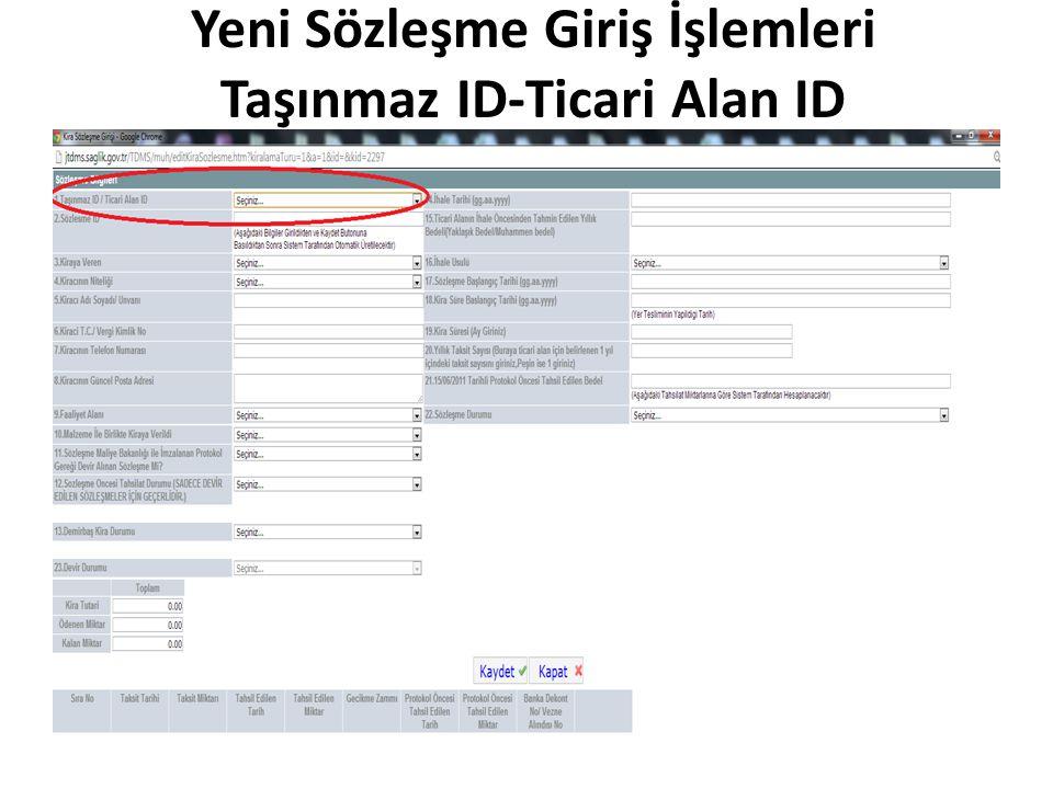 Yeni Sözleşme Giriş İşlemleri Taşınmaz ID-Ticari Alan ID