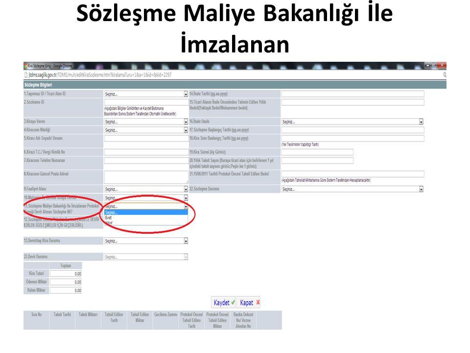 Sözleşme Maliye Bakanlığı İle İmzalanan