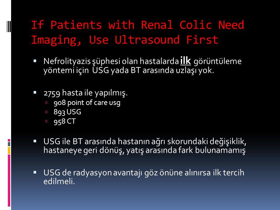 If Patients with Renal Colic Need Imaging, Use Ultrasound First  Nefrolityazis şüphesi olan hastalarda ilk görüntüleme yöntemi için USG yada BT arası
