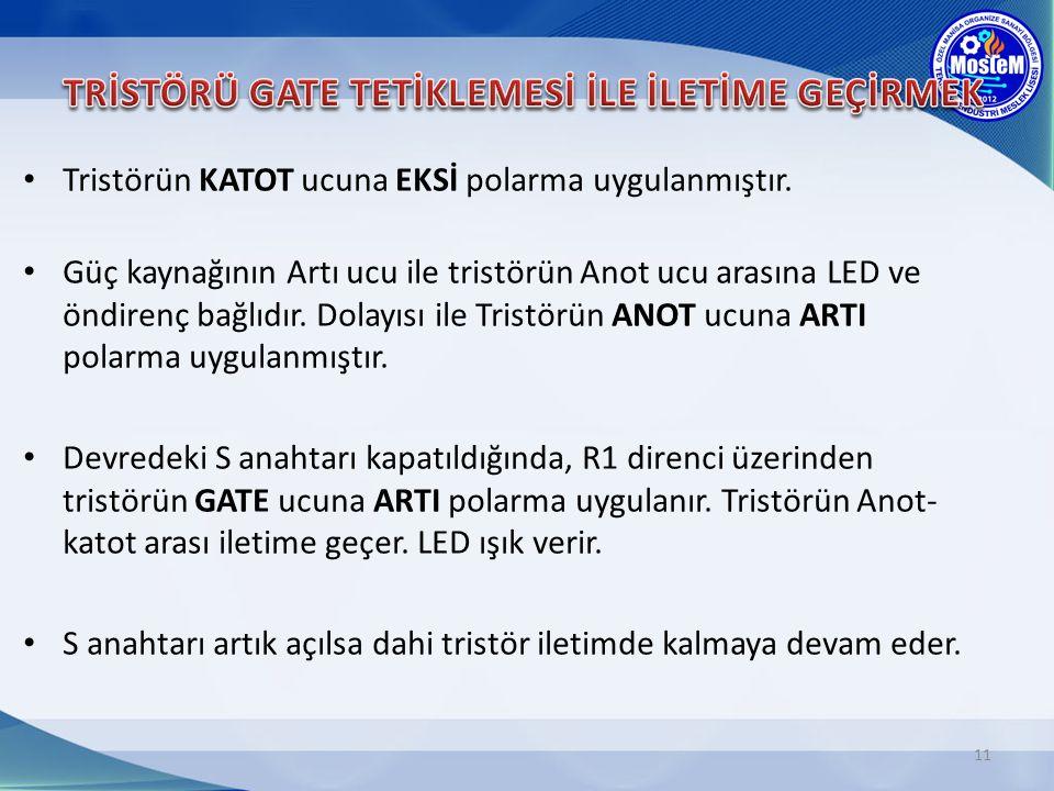 11 Tristörün KATOT ucuna EKSİ polarma uygulanmıştır. Güç kaynağının Artı ucu ile tristörün Anot ucu arasına LED ve öndirenç bağlıdır. Dolayısı ile Tri