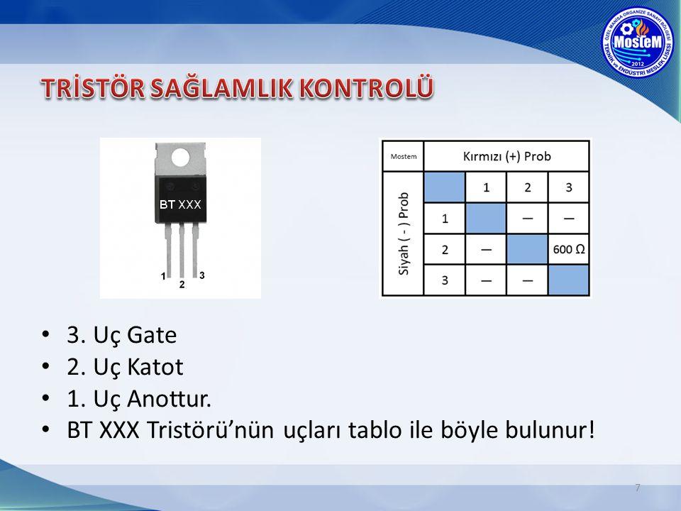 7 3. Uç Gate 2. Uç Katot 1. Uç Anottur. BT XXX Tristörü'nün uçları tablo ile böyle bulunur!