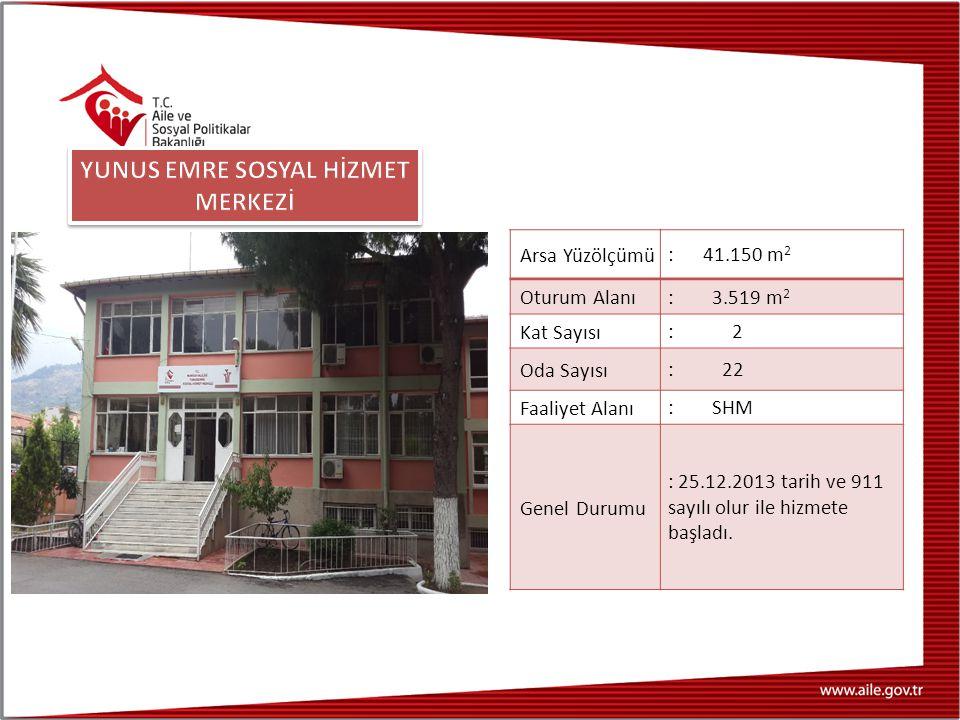 Arsa Yüzölçümü : 41.150 m 2 Oturum Alanı : 3.519 m 2 Kat Sayısı : 2 Oda Sayısı : 22 Faaliyet Alanı : SHM Genel Durumu : 25.12.2013 tarih ve 911 sayılı