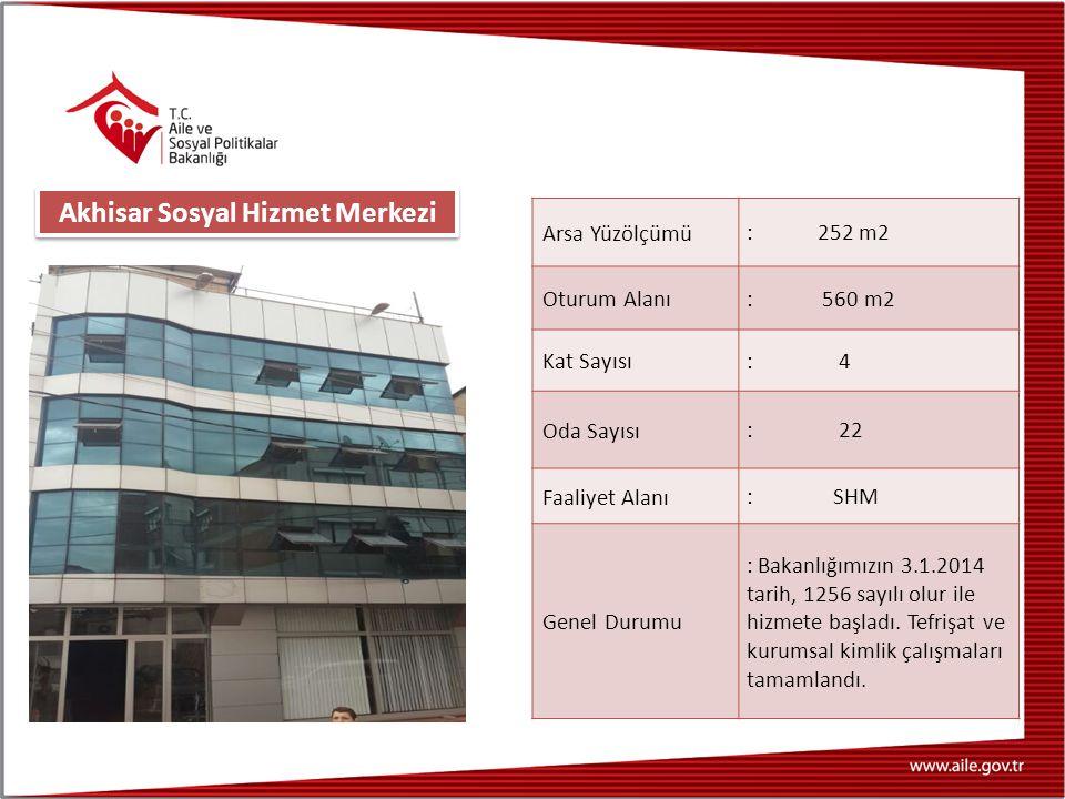 Arsa Yüzölçümü : 252 m2 Oturum Alanı : 560 m2 Kat Sayısı : 4 Oda Sayısı : 22 Faaliyet Alanı : SHM Genel Durumu : Bakanlığımızın 3.1.2014 tarih, 1256 sayılı olur ile hizmete başladı.