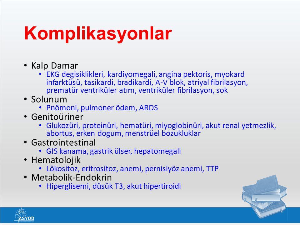 Komplikasyonlar Kalp Damar EKG degisiklikleri, kardiyomegali, angina pektoris, myokard infarktüsü, tasikardi, bradikardi, A-V blok, atriyal fibrilasyon, prematür ventriküler atım, ventriküler fibrilasyon, sok Solunum Pnömoni, pulmoner ödem, ARDS Genitoüriner Glukozüri, proteinüri, hematüri, miyoglobinüri, akut renal yetmezlik, abortus, erken dogum, menstrüel bozukluklar Gastrointestinal GIS kanama, gastrik ülser, hepatomegali Hematolojik Lökositoz, eritrositoz, anemi, pernisiyöz anemi, TTP Metabolik-Endokrin Hiperglisemi, düsük T3, akut hipertiroidi