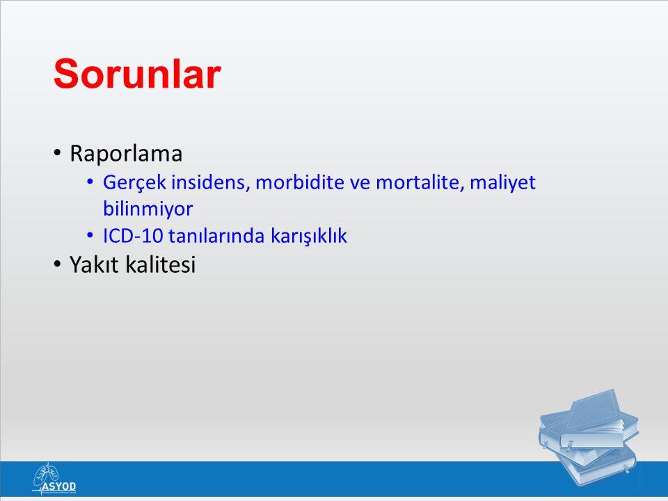 Sorunlar Raporlama Gerçek insidens, morbidite ve mortalite, maliyet bilinmiyor ICD-10 tanılarında karışıklık Yakıt kalitesi