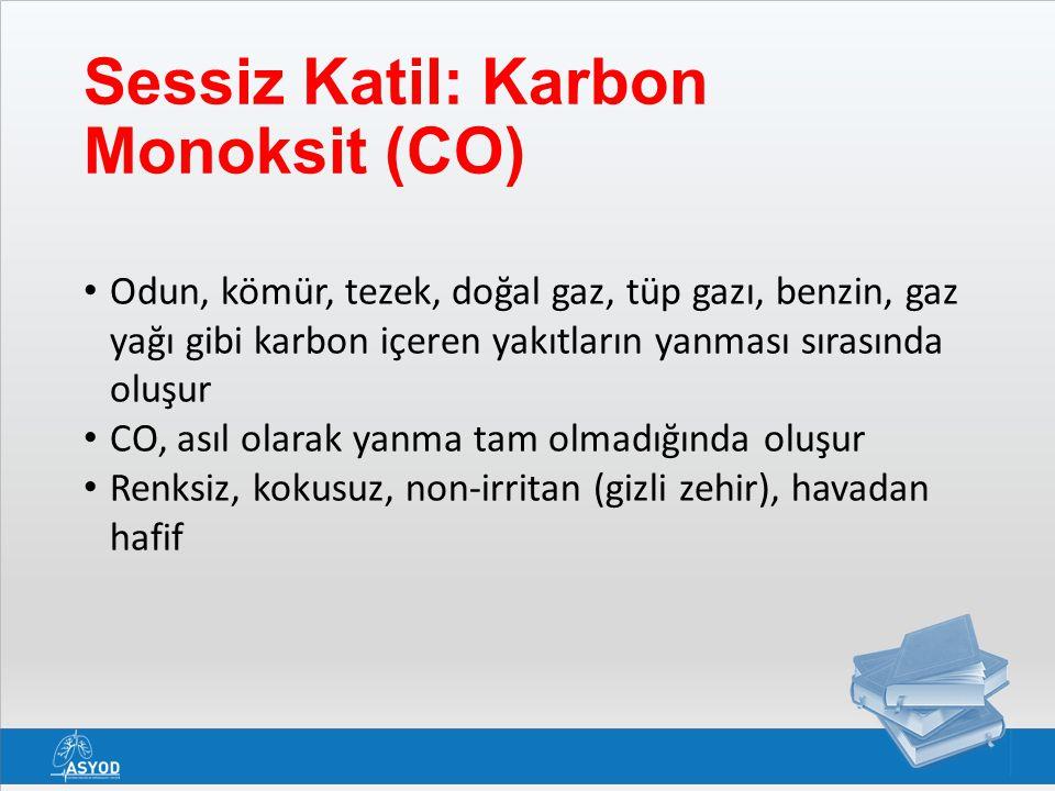 Sessiz Katil: Karbon Monoksit (CO) Odun, kömür, tezek, doğal gaz, tüp gazı, benzin, gaz yağı gibi karbon içeren yakıtların yanması sırasında oluşur CO, asıl olarak yanma tam olmadığında oluşur Renksiz, kokusuz, non-irritan (gizli zehir), havadan hafif