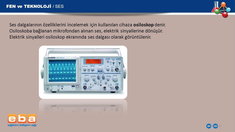 FEN ve TEKNOLOJİ / SES 13 Ses dalgalarının özelliklerini incelemek için kullanılan cihaza osiloskop denir. Osiloskoba bağlanan mikrofondan alınan ses,