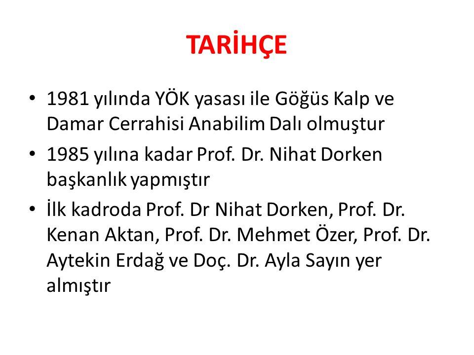 TARİHÇE 1981 yılında YÖK yasası ile Göğüs Kalp ve Damar Cerrahisi Anabilim Dalı olmuştur 1985 yılına kadar Prof.