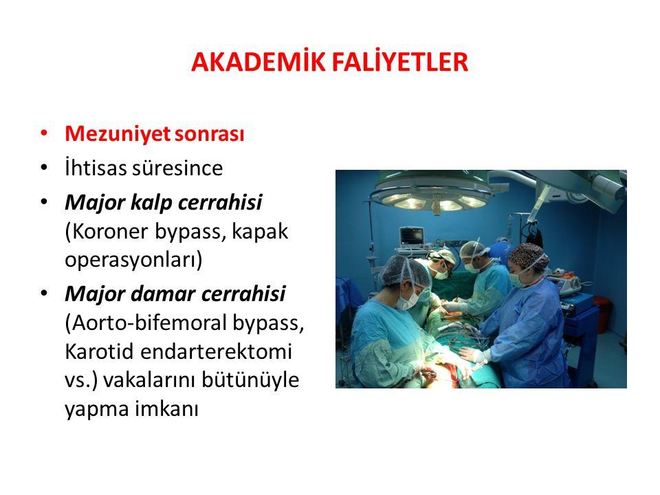 AKADEMİK FALİYETLER Mezuniyet sonrası İhtisas süresince Major kalp cerrahisi (Koroner bypass, kapak operasyonları) Major damar cerrahisi (Aorto-bifemoral bypass, Karotid endarterektomi vs.) vakalarını bütünüyle yapma imkanı