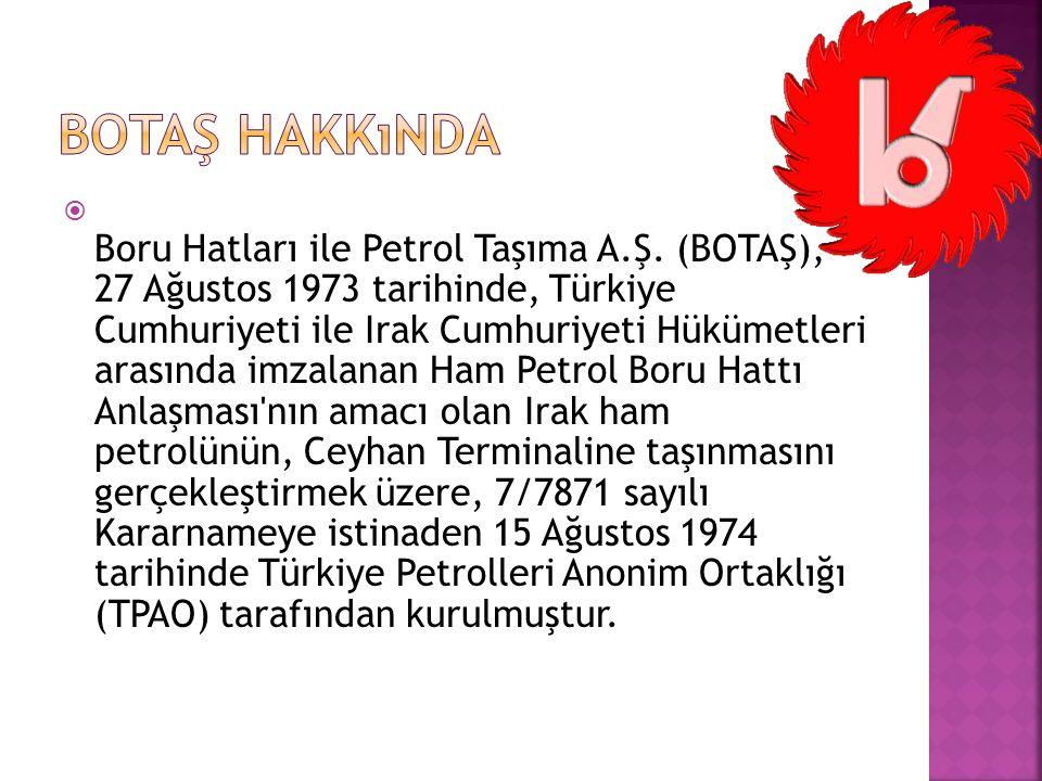  Boru Hatları ile Petrol Taşıma A.Ş. (BOTAŞ), 27 Ağustos 1973 tarihinde, Türkiye Cumhuriyeti ile Irak Cumhuriyeti Hükümetleri arasında imzalanan Ham