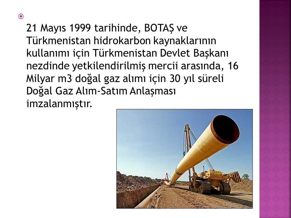  21 Mayıs 1999 tarihinde, BOTAŞ ve Türkmenistan hidrokarbon kaynaklarının kullanımı için Türkmenistan Devlet Başkanı nezdinde yetkilendirilmiş mercii
