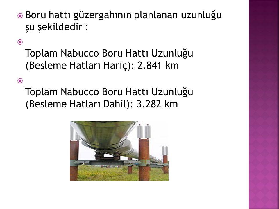  Boru hattı güzergahının planlanan uzunluğu şu şekildedir :  Toplam Nabucco Boru Hattı Uzunluğu (Besleme Hatları Hariç): 2.841 km  Toplam Nabucco B
