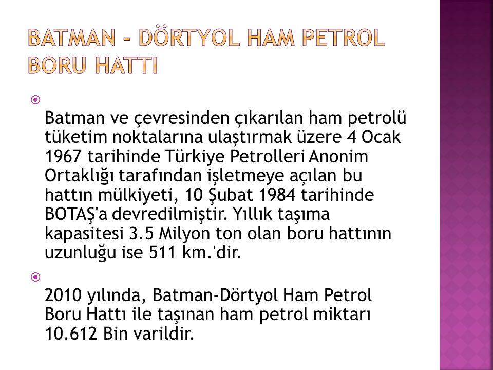  Batman ve çevresinden çıkarılan ham petrolü tüketim noktalarına ulaştırmak üzere 4 Ocak 1967 tarihinde Türkiye Petrolleri Anonim Ortaklığı tarafında