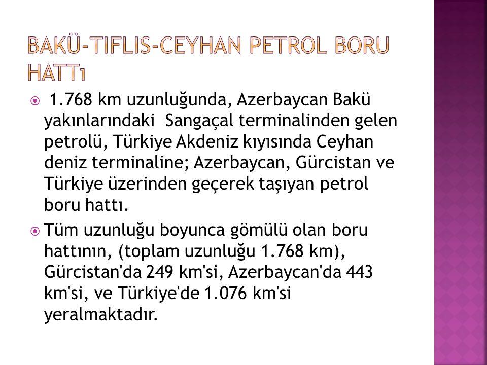  1.768 km uzunluğunda, Azerbaycan Bakü yakınlarındaki Sangaçal terminalinden gelen petrolü, Türkiye Akdeniz kıyısında Ceyhan deniz terminaline; Azerb