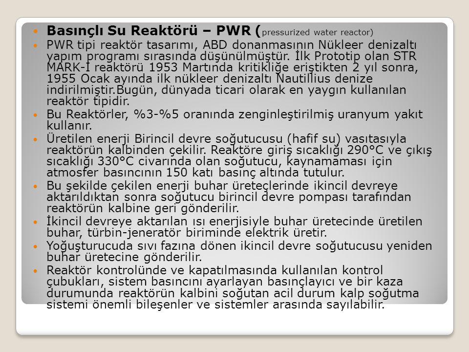 Basınçlı Su Reaktörü – PWR ( pressurized water reactor) PWR tipi reaktör tasarımı, ABD donanmasının Nükleer denizaltı yapım programı sırasında düşünül