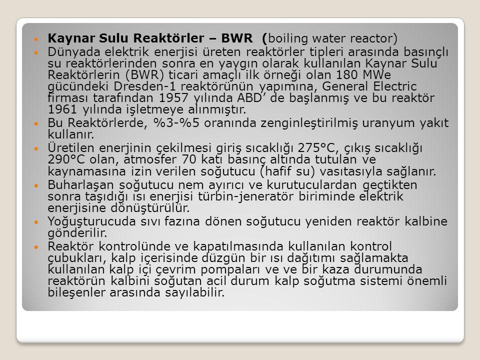 Kaynar Sulu Reaktörler – BWR (boiling water reactor) Dünyada elektrik enerjisi üreten reaktörler tipleri arasında basınçlı su reaktörlerinden sonra en